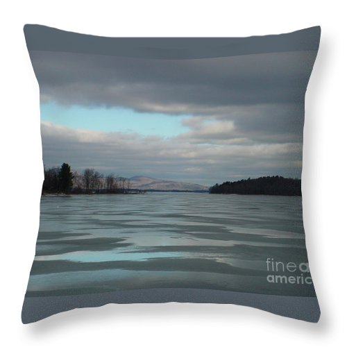 Winter Throw Pillow featuring the photograph Winter On The Lake by Nancie Johnson
