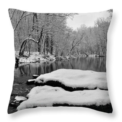 Winter On The Wissahickon Creek Throw Pillow featuring the photograph Winter On The Wissahickon Creek by Bill Cannon