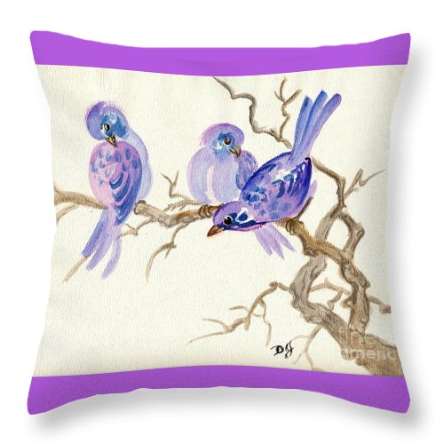 Japanese Art Throw Pillow featuring the painting Winter Purple Delight by Dale Jackson