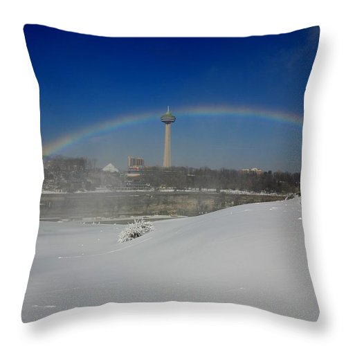 Niagara Falls Throw Pillow featuring the photograph Winter Rainbow by Eric Swan