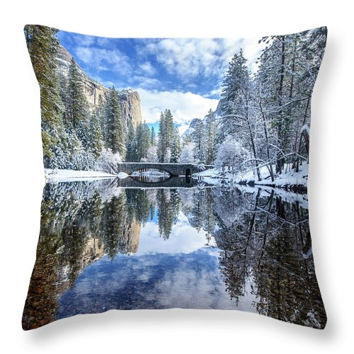 Scenics Throw Pillow featuring the photograph Winter Reflection At Yosemite by Piriya Photography