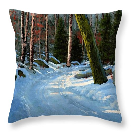 Landscape Throw Pillow featuring the painting Winter Road by Frank Wilson
