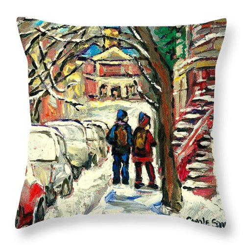 Montreal Throw Pillow featuring the painting Winter Scene Painting Rows Of Snow Covered Cars First School Day After Christmas Break Montreal Art by Carole Spandau