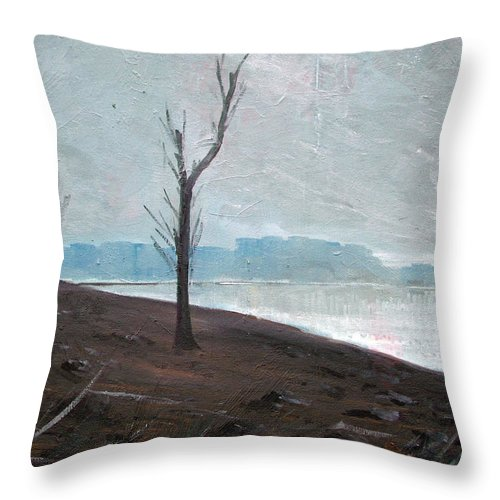 Landscape Throw Pillow featuring the painting Winter by Sergey Bezhinets