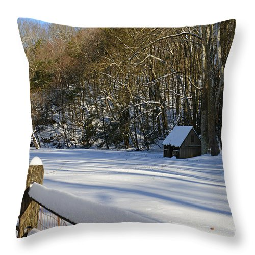 Paul Ward Throw Pillow featuring the photograph Winter Shack by Paul Ward
