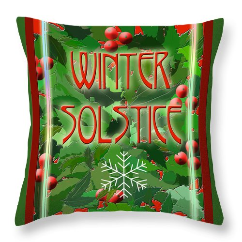 Yule Throw Pillow featuring the digital art Winter Solstice by Melissa A Benson