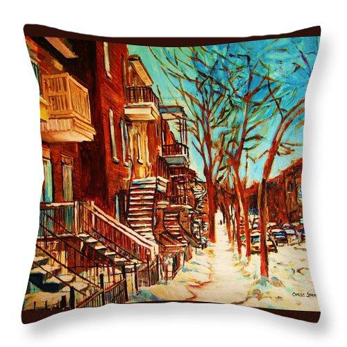 Verdun Paintings By Montreal Street Scene Artist Carole Spandau Throw Pillow featuring the painting Winter Staircase by Carole Spandau