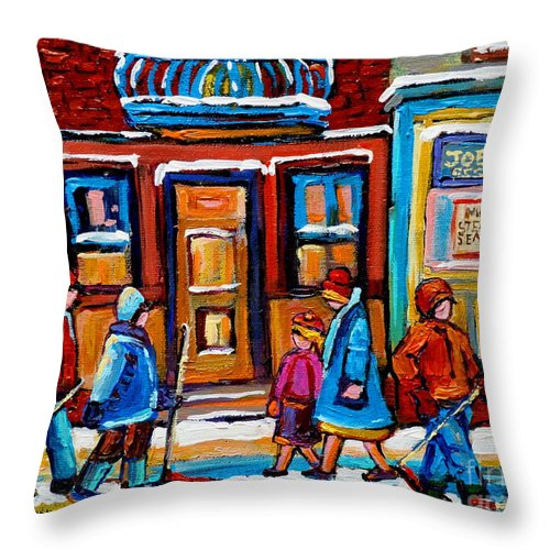 Montreal Throw Pillow featuring the painting Winter Street In Saint Henri by Carole Spandau