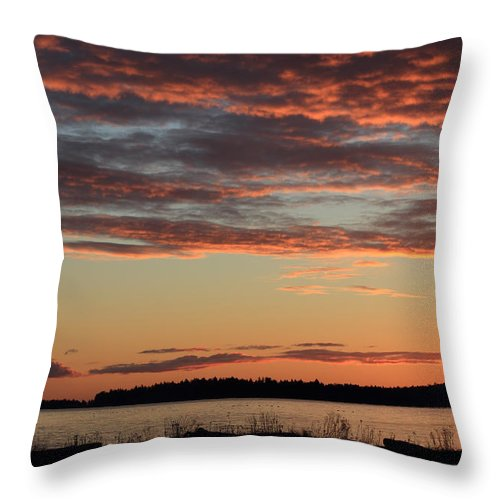 Sunrise Throw Pillow featuring the photograph Winter Sunrise At Rathtrevor by Randy Hall