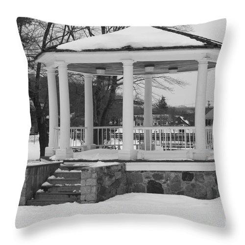 Winter Time Gazebo Throw Pillow featuring the photograph Winter Time Gazebo by John Telfer