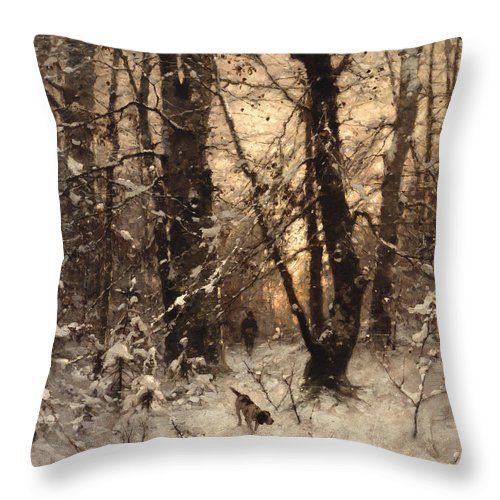 Winter Throw Pillow featuring the painting Winter Twilight by Ludwig Munthe