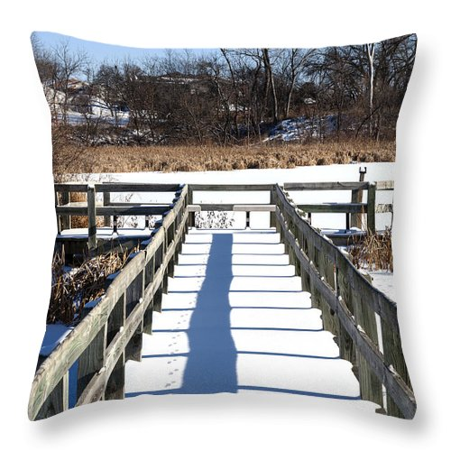 Winter Scene Throw Pillow featuring the photograph Winter Walkway by Edward Peterson