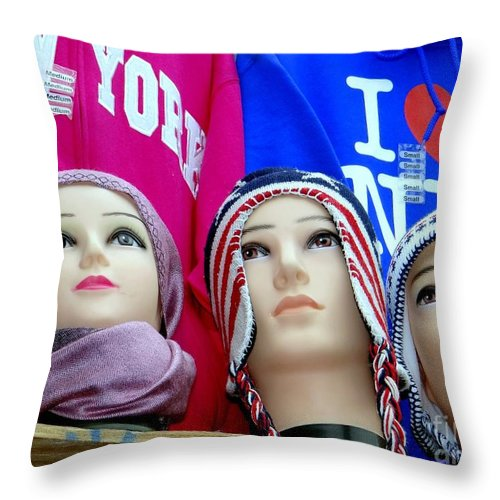 Mannequins Throw Pillow featuring the photograph Winter Warmth by Ed Weidman