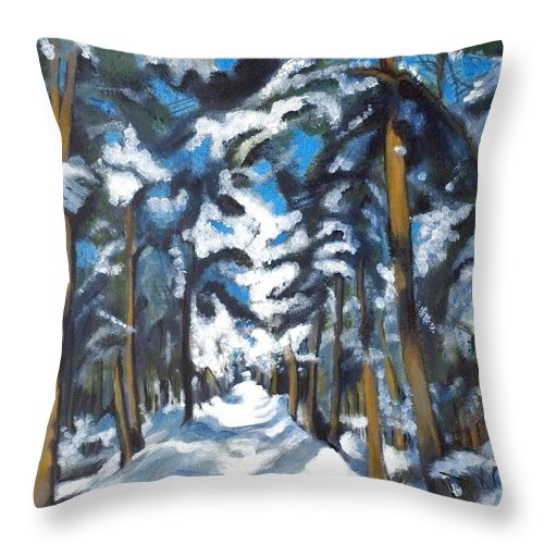 Winter Throw Pillow featuring the painting Winter Way by Vera Lysenko