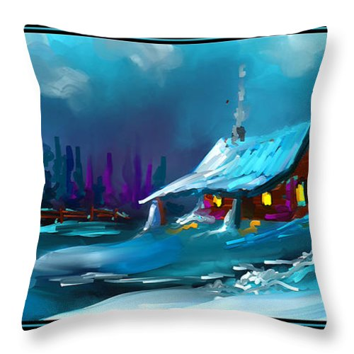 Snow Throw Pillow featuring the painting Winter Wonder by Steven Lebron Langston