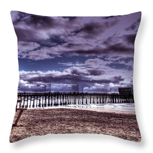 Balboa Pier Throw Pillow featuring the photograph Winters Beach Solitude by Tommy Anderson