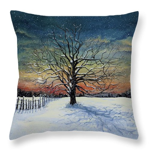 Oak Tree Throw Pillow featuring the painting Winters Eve by Mary Palmer