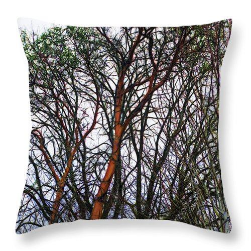 Throw Pillow featuring the digital art Winters Trees by Cathy Anderson