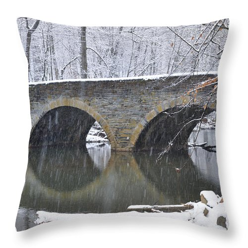 Wintertime At Bells Mill Road Throw Pillow featuring the photograph Wintertime At Bells Mill Road by Bill Cannon