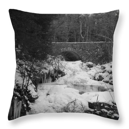 Waterfall Throw Pillow featuring the photograph Wintry Waterfall by Monique Flint