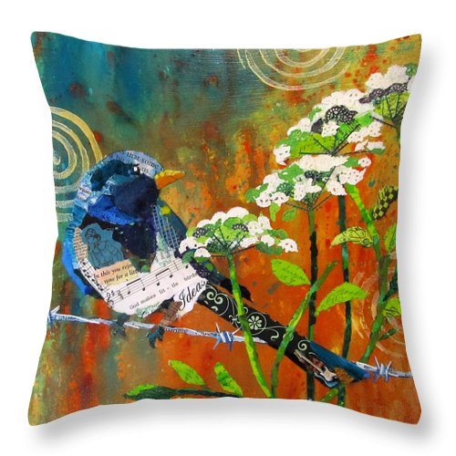 Bird Throw Pillow featuring the painting Wire And Lace by Kathy Fitzgerald