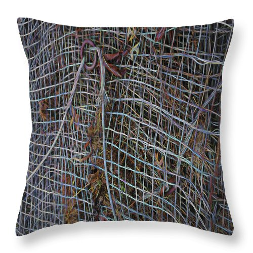 Throw Pillow featuring the digital art Wire Mesh by Cathy Anderson