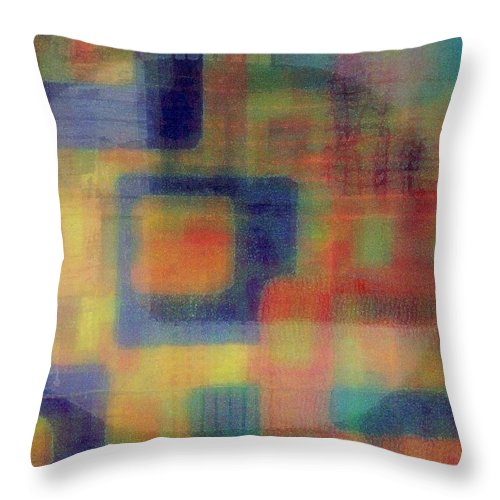 Abstract Throw Pillow featuring the mixed media Wire Tap by Wendie Busig-Kohn