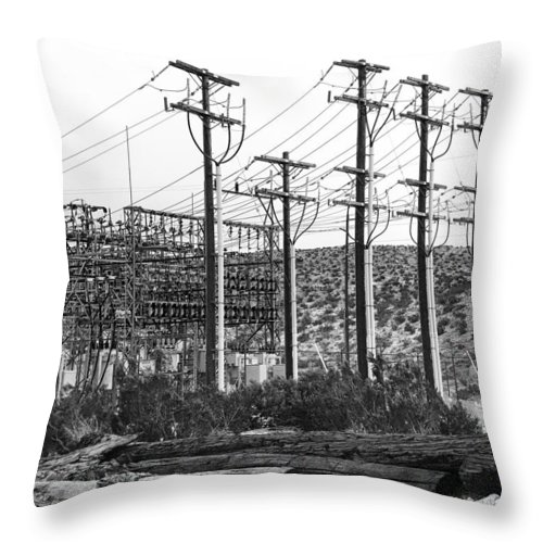 Windmills Throw Pillow featuring the photograph Wired Palm Springs by William Dey