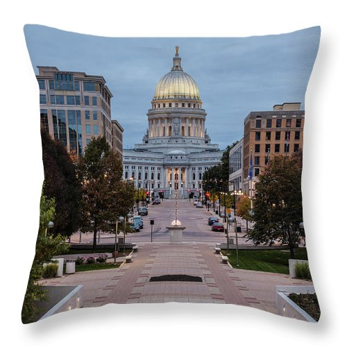 Land Vehicle Throw Pillow featuring the photograph Wisconsin State Capitol Building by Kenneth C. Zirkel