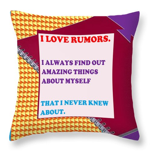 Rumors Throw Pillow featuring the mixed media Wisdom Quote Rumors Artistic Background Designs And Color Tones N Color Shades Available For Downl by Navin Joshi