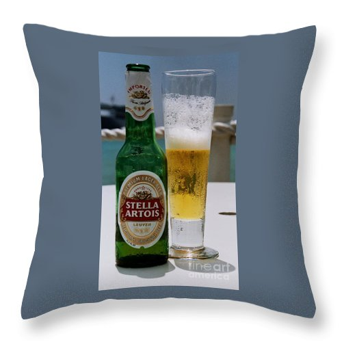 Beer Bottle Chilled Glass Stella Artois Outdoors Beverage Bar Related Refreshing Travel Signs Beer Lovers' Poster Green Bottle Iconic Brand Vertical Vision Island Background Metal Frame Poster Print Wood Print Canvas Print Available On Greeting Cards Party Invitation Cards Mugs T Shirts New Spiral Note Books Tote Bags Yoga Mats And Phone Cases Throw Pillow featuring the photograph Cheers From Stella by Marcus Dagan