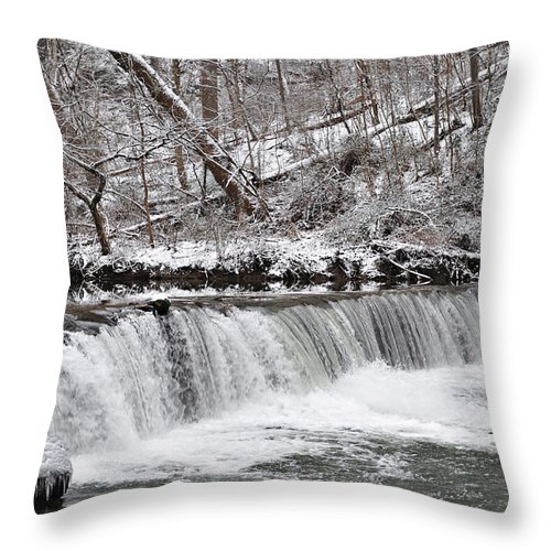 Wissahickon Throw Pillow featuring the photograph Wissahickon Waterfall In Winter by Bill Cannon