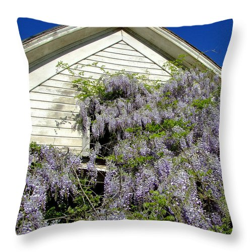 Wisteria Throw Pillow featuring the photograph Wisteria Cascading by Everett Bowers