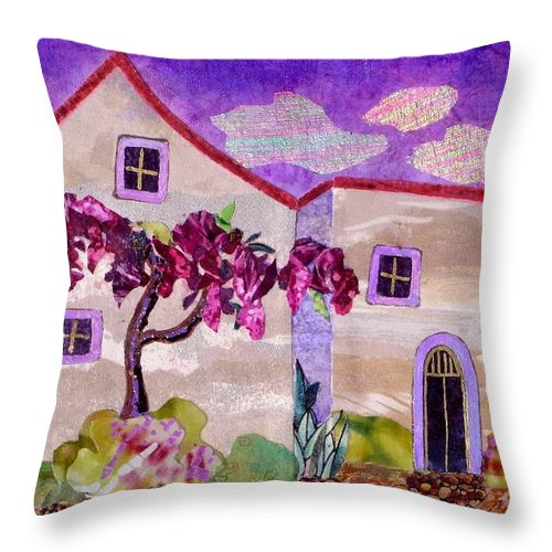 Wisteria Throw Pillow featuring the painting Wisteria In Bloom by Susan Minier