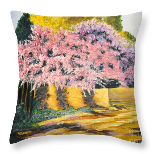 Wisteria Tree Throw Pillow featuring the painting Wisterias Santa Fe New Mexico by Barney Napolske