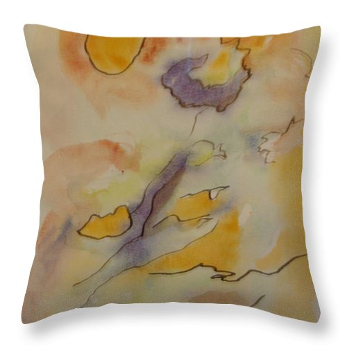 Wistful Flower Throw Pillow featuring the painting Wistful Flower by Esther Newman-Cohen