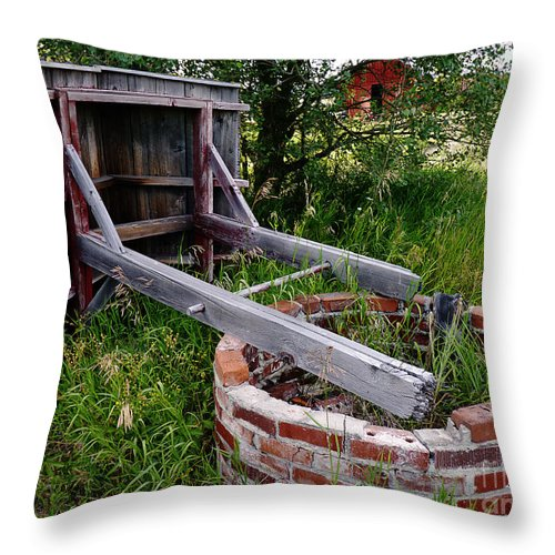 Well Throw Pillow featuring the photograph Wistful Well by Meghan at FireBonnet Art
