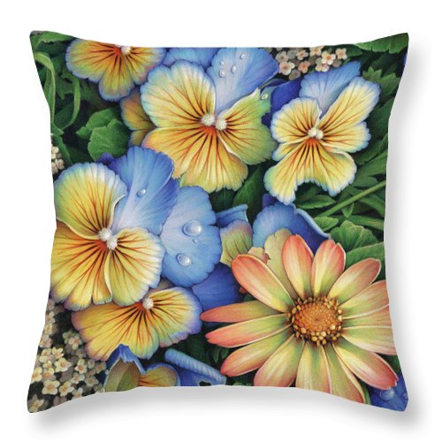 Colored Pencil Throw Pillow featuring the drawing With Bright Shiny Faces by Amy S Turner