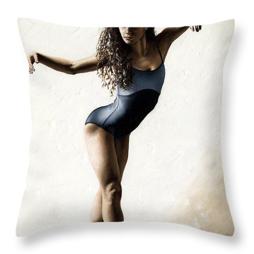 Dancer Throw Pillow featuring the painting With Deftness by Richard Young