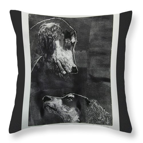Saluki Throw Pillow featuring the mixed media With Love by Cori Solomon