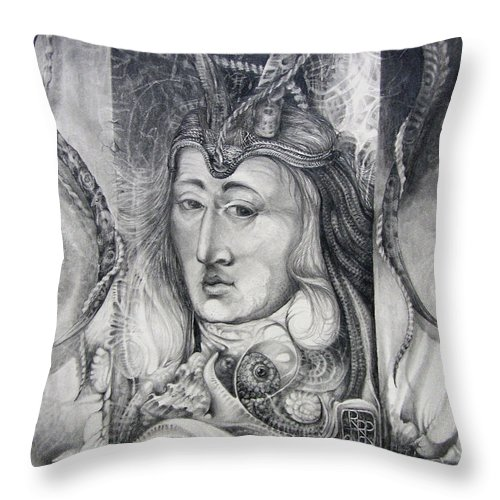 Wizard Throw Pillow featuring the drawing Wizard Of Bogomil's Island - The Fomorii Conjurer by Otto Rapp