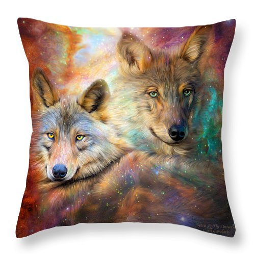 Wolf Throw Pillow featuring the mixed media Wolf - Spirit Of The Universe by Carol Cavalaris