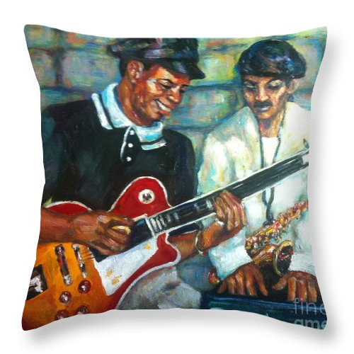 Guitar Throw Pillow featuring the painting Wolfman by Beverly Boulet