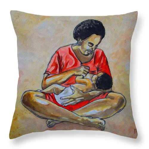 Baby Feeding Throw Pillow featuring the drawing Woman And Child by Anthony Mwangi