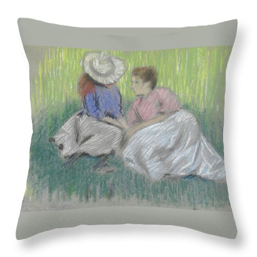 Federico Zandomeneghi Throw Pillow featuring the painting Woman And Girl On The Grass by Federico Zandomeneghi