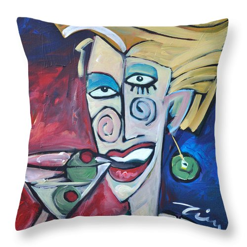 Martini Throw Pillow featuring the painting Woman At Martini Bar by Tim Nyberg