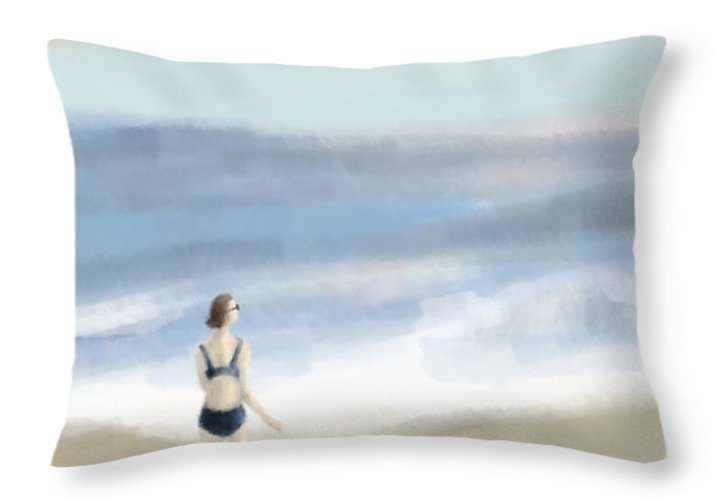 Coastal Throw Pillow featuring the painting Woman by the Sea by Beverly Brown