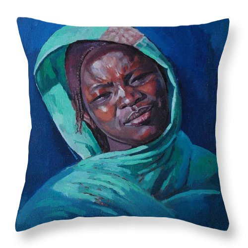 Woman From Darfur Throw Pillow featuring the painting Woman From Darfur by Mohamed Fadul