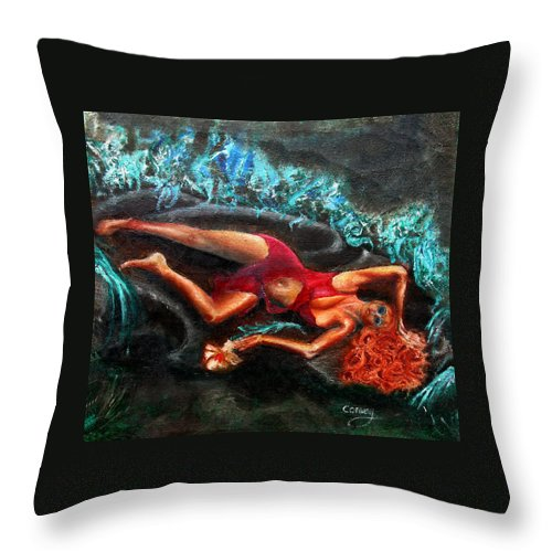 Females Throw Pillow featuring the painting Woman In A Red Dress Holding A Flower by Tom Conway