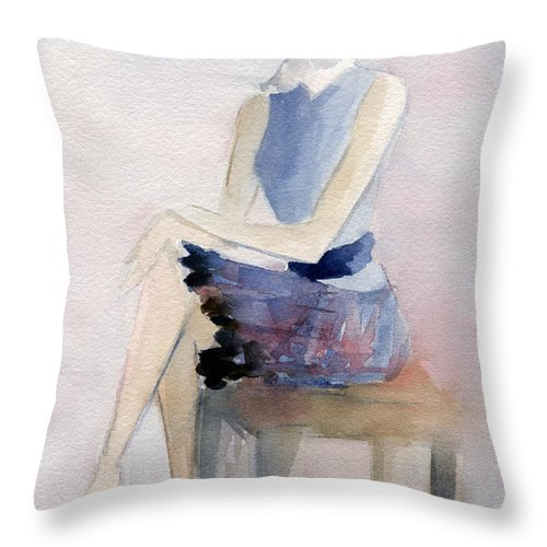 Fashion Throw Pillow featuring the painting Woman In Plaid Skirt And Big Sunglasses Fashion Illustration Art Print by Beverly Brown